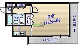 メゾン・ド・ヴィレ大阪城公園前 5階1Kの間取り