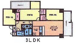 メゾンド・ファミーユ門司港 3階3LDKの間取り