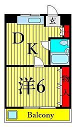 JR高崎線 尾久駅 徒歩6分の賃貸マンション 4階1DKの間取り