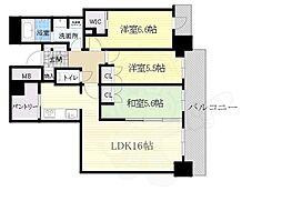 北大阪急行電鉄 千里中央駅 徒歩1分の賃貸マンション 26階3LDKの間取り