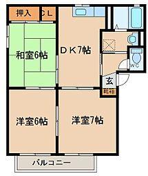 レーベンハイム B棟[2階]の間取り
