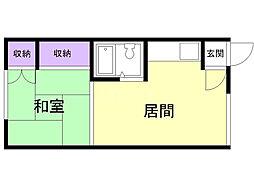 コーポ入江 2階1DKの間取り