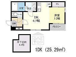 Osaka Metro谷町線 千林大宮駅 徒歩8分の賃貸アパート 1階1DKの間取り
