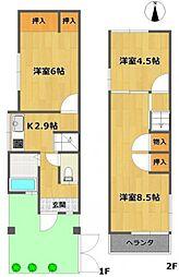 [タウンハウス] 兵庫県川西市美園町 の賃貸【/】の間取り