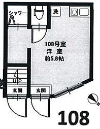 東京都新宿区河田町の賃貸アパートの間取り