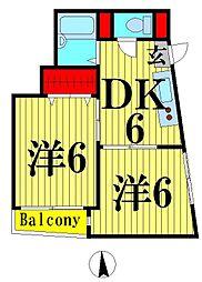 宮内サンハイツ西新井B棟[102号室]の間取り