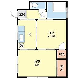 新潟県新潟市中央区本町通2番町の賃貸アパートの間取り