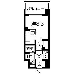 名古屋市営桜通線 今池駅 徒歩3分の賃貸マンション 7階ワンルームの間取り