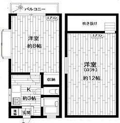 東京都世田谷区若林3丁目の賃貸アパートの間取り