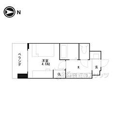 キャンパスヴィレッジ京都伏見 2階ワンルームの間取り