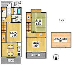 大阪府東大阪市新庄3丁目の賃貸アパートの間取り
