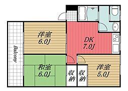 千葉県富里市日吉倉の賃貸アパートの間取り