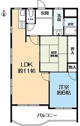 ベルカンポ甲子園 3階2LDKの間取り
