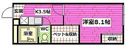JR呉線 坂駅 徒歩10分の賃貸アパート 1階1Kの間取り