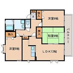 静岡県静岡市駿河区高松2丁目の賃貸アパートの間取り