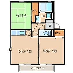 愛知県春日井市高蔵寺町5丁目の賃貸アパートの間取り