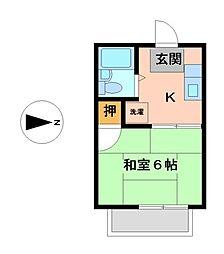 愛知県名古屋市熱田区六番3丁目の賃貸アパートの間取り