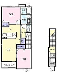 神奈川県川崎市多摩区長沢1丁目の賃貸アパートの間取り
