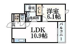 阪神本線 大石駅 徒歩8分の賃貸マンション 3階1LDKの間取り
