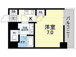 meet Me 梅田西 4階1Kの間取り