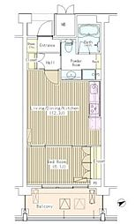 東京メトロ丸ノ内線 茗荷谷駅 徒歩10分の賃貸マンション 2階1LDKの間取り