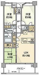 神奈川県横浜市鶴見区下野谷町1丁目の賃貸マンションの間取り