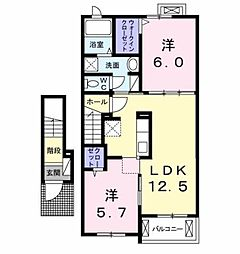 JR鹿児島本線 熊本駅 バス54分 五霊中学校前下車 徒歩9分の賃貸アパート 2階2LDKの間取り