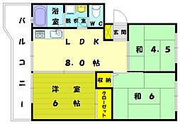 福岡県福岡市東区和白東1丁目の賃貸マンションの間取り