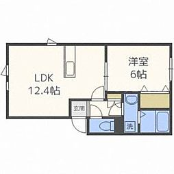 北海道札幌市東区東雁来十条4の賃貸アパートの間取り