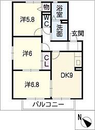 ボヌール泰山 B棟[2階]の間取り