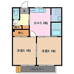 三重県鈴鹿市十宮4丁目の賃貸アパートの間取り