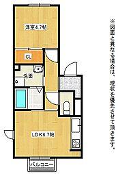 北九州都市モノレール小倉線 徳力公団前駅 徒歩8分の賃貸アパート 2階1LDKの間取り