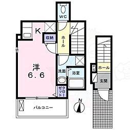Galleria Ikoma 2階ワンルームの間取り