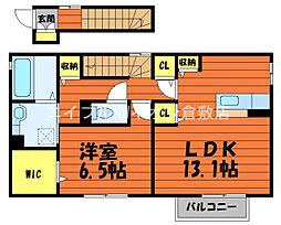 JR宇野線 久々原駅 徒歩16分の賃貸アパート 2階1LDKの間取り