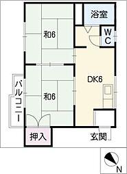 コーポ川田[1階]の間取り