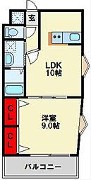 浅野ベイタワー 6階1LDKの間取り