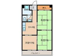 三重県四日市市西坂部町の賃貸マンションの間取り