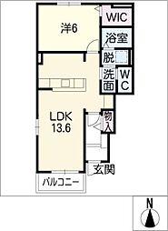 愛知県豊橋市二川町字東向山の賃貸アパートの間取り