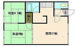 北海道小樽市緑1丁目の賃貸アパートの間取り