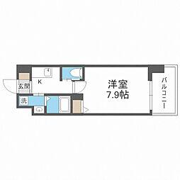 JR大阪環状線 芦原橋駅 徒歩7分の賃貸マンション 3階1Kの間取り