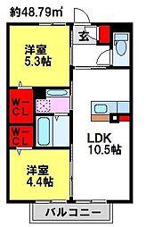ソレイユ宿[1階]の間取り