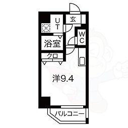 レジデンシア泉2 8階ワンルームの間取り