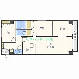 北海道札幌市東区北三十二条東16丁目の賃貸マンションの間取り
