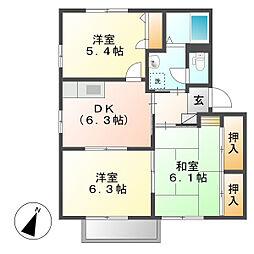 岡山県倉敷市北畝5の賃貸アパートの間取り