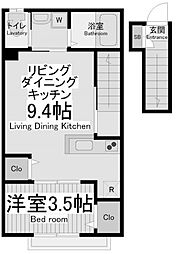小田急小田原線 玉川学園前駅 徒歩9分の賃貸アパート 2階1LDKの間取り