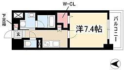 Avanti 4階1Kの間取り