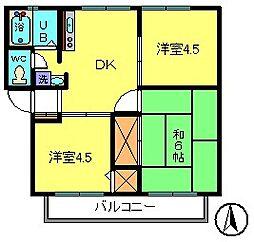 東京都江戸川区東葛西4丁目の賃貸アパートの間取り