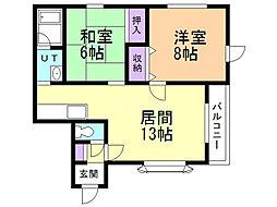 マンション野澤 1階2LDKの間取り