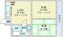 サンマンション広瀬 2階2LDKの間取り