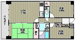ライオンズマンション千代田弐番館[8階]の間取り